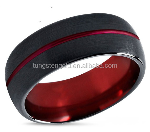 2016 new product red tungsten ring mens black wedding ring