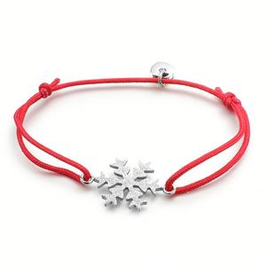 Custom Snowflake Charm Adjustable Cord Silk Thread String Red Rope Bracelet