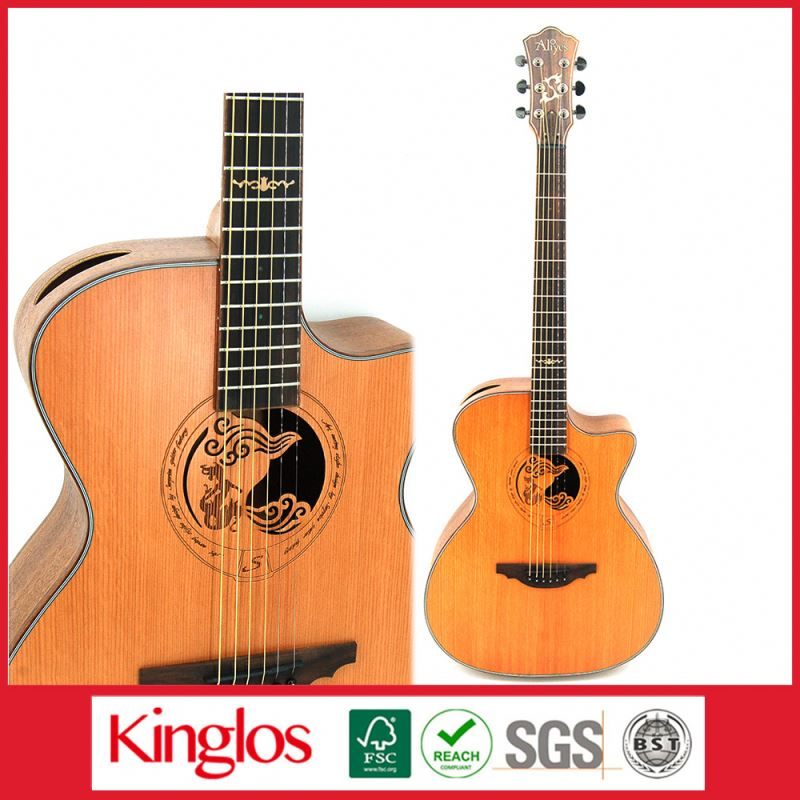 "Art Cariving Series Solid Wood Aucoustic Guitar 39""40"" 84"" with classical design made in China (S41U-009-096)"
