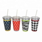 Customized Logo Couple Coffee Cup Drinking Tumbler Double Wall Vacuum Plastic Cup Insulation Cup
