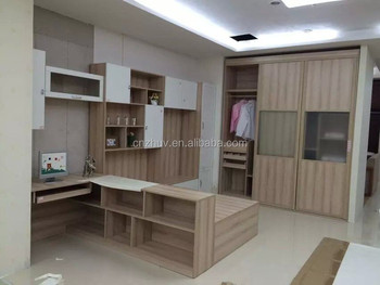 Wooden Bedroom Wardrobe Design Glass Door Bookcase With Study Table