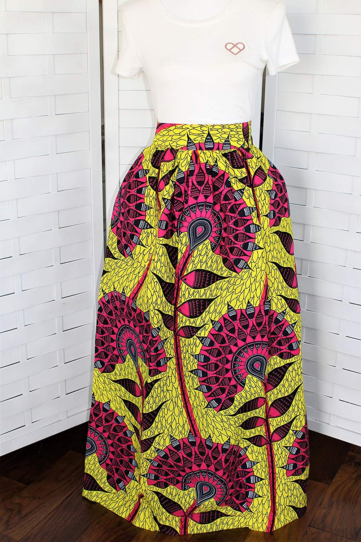 bf0fb6ff948 Get Quotations · African Print Maxi Skirt with Pockets Long Skirt Ankara  Skirt Africa Fabric Skirt