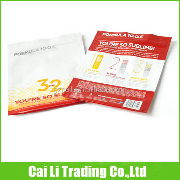 oem customed ziplock stand up cosmetic sample sachet