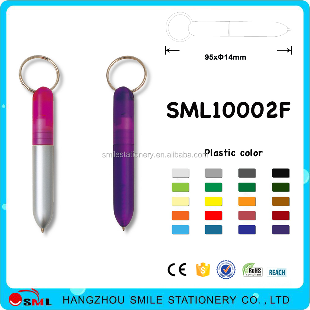 Hot sale key ring plastic mini ballpoint pen with logo for promotional