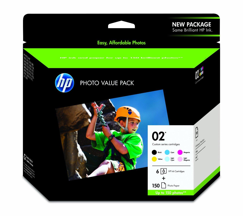 HP 02 Black, Cyan, Magenta, Yellow, Light Cyan & Light Magenta Original Ink Cartridges with Photo Paper, 6 Cartridges (Q7964AN)