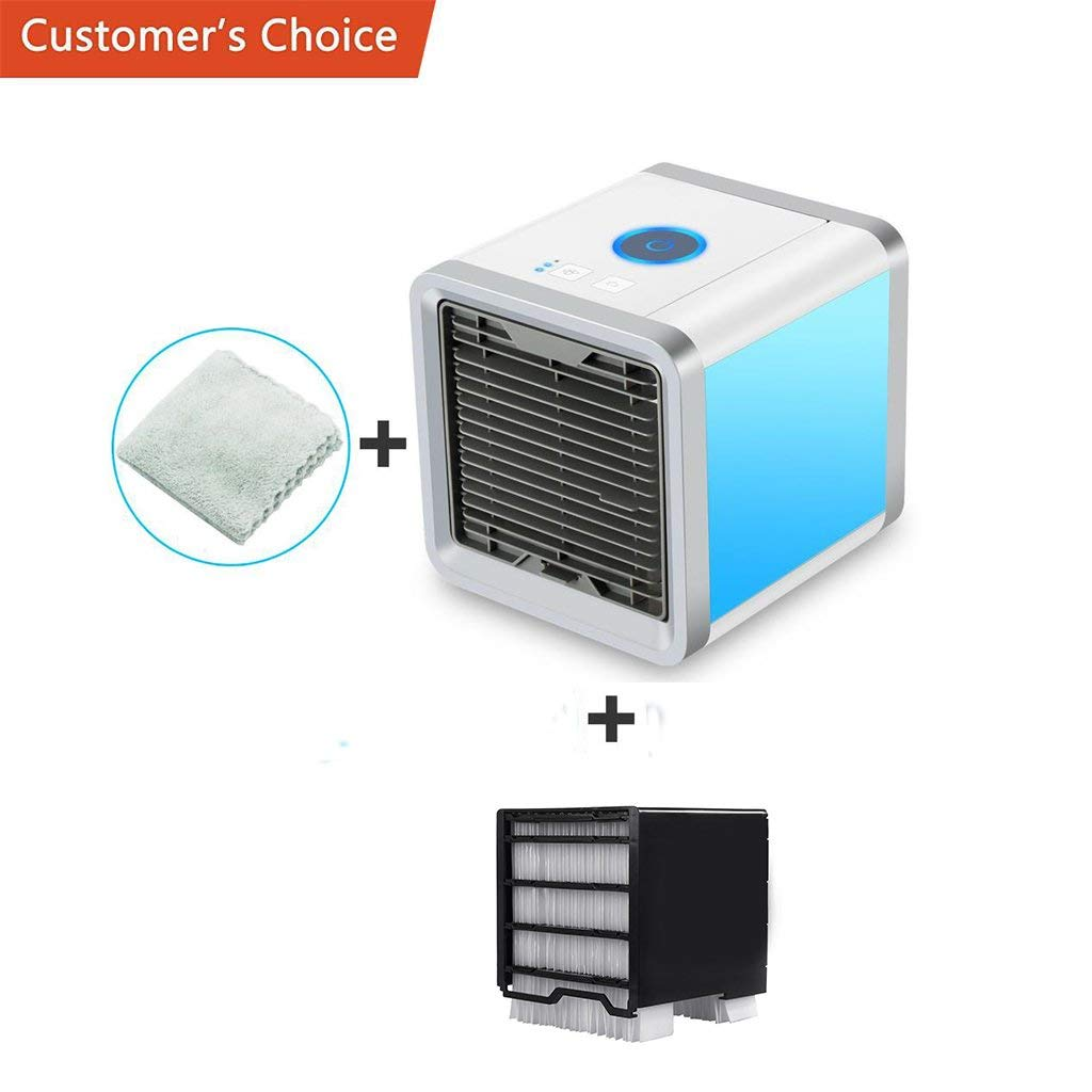 Yi-gog Arctic Air Personal Space Cooler, 3 in 1 Mini USB Personal Space Air Cooler, Humidifier, Desktop Cooling Fan with 3 Speeds and 7 Colors LED Night Light for Office Home Outdoor Travel
