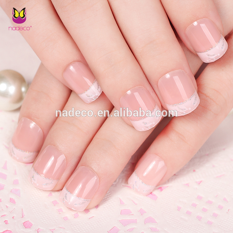 Nadeco Free False Nails French Style Glitter Press On Nails ...
