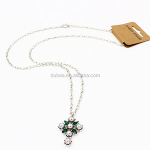 Cross Pendant Necklace - Pearl & Cubic Zirconia Fixed in Charm,Gemstone Cross Sweater Pearl Necklace