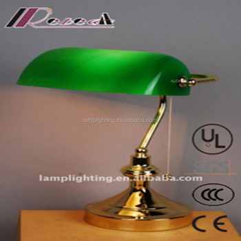 High Quality Green Gl Pull Switch Reading Banker Table Lamp