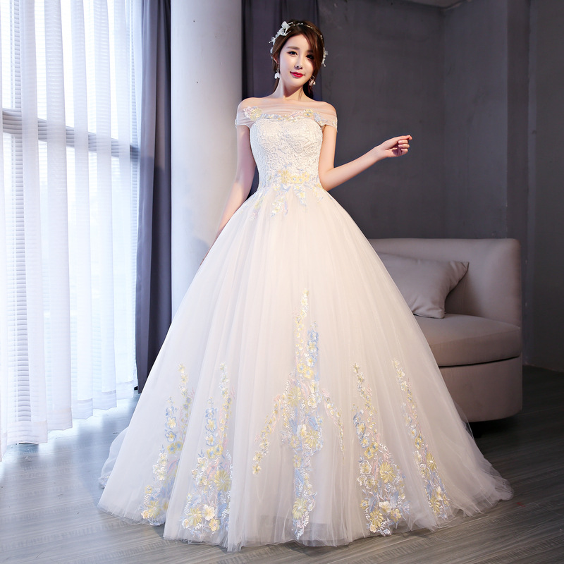 Off Shoulder Wedding Evening Dress Appliqued Yellow Flower Fancy Tulle Ball Gown Wedding Dresses Off White Yellow Flowers Buy At The Price Of 86 80 In Alibaba Com Imall Com,Cute Fall Dresses For Weddings