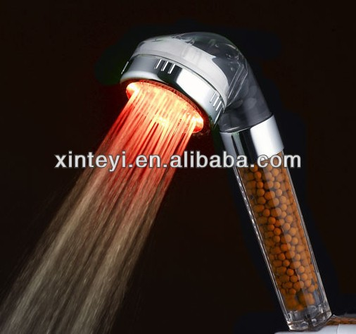 C-138-1LED hydro power led hand shower hotel spa led hand shower with negative ball