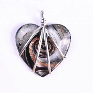 Heart shape tumbled Silver wire wrapped gemstone Agate Pendant
