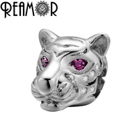REAMOR DIY Copper Charm Bead Tiger Head Beads With Red Eye Zircon For Beaded Bracelets Jewelry Making Finding