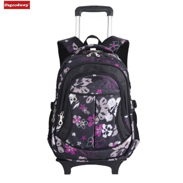 Osgoodway New Products Waterproof Trolley Child Girl's Backpack School Bags with Wheeled Trolley Rolling