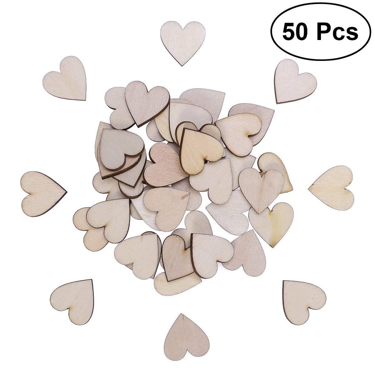 Vosarea 50PCS Heart Shaped Wooden Slices Unpainted Natural Birch Tree Cutout Shape Discs for DIY Crafts Embellishments Wedding - 20mm