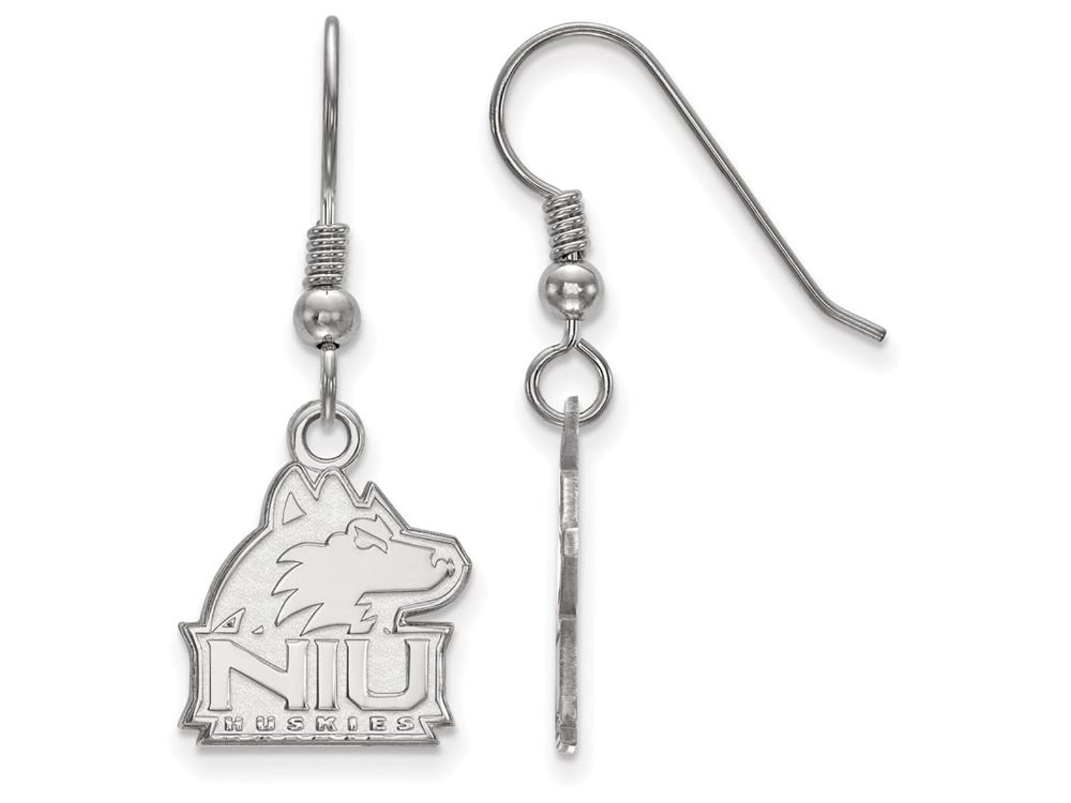 Northern Illinois Small (1/2 Inch) Dangle Earrings (Sterling Sliver)