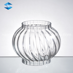 ribbed pleated glass lampshade tube open end candle holders