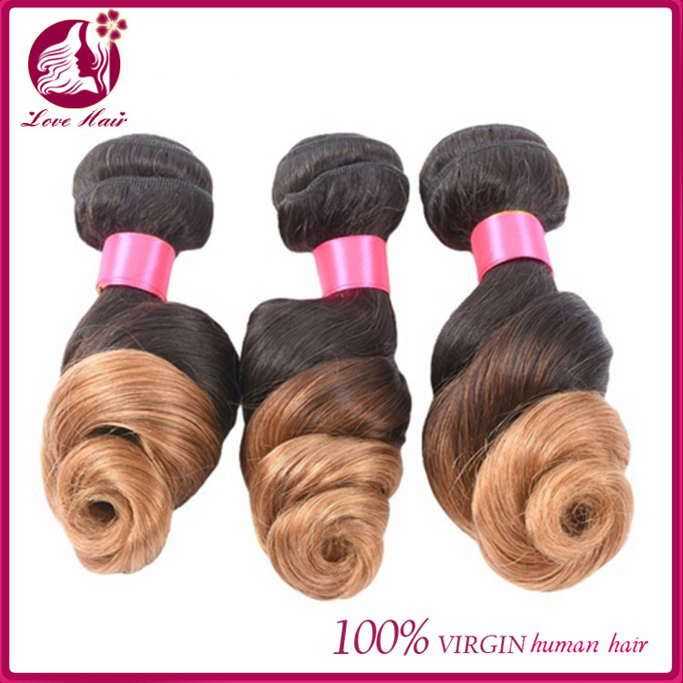 Ombre Brazilian Loose Wave Hair Bundles Human Hair Weave Bundles 1B/27 Color 2 Tone Non-remy Hair Extensions Can Buy 4Pcs