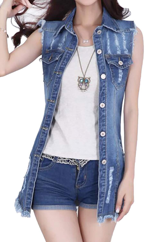 8444082d87 Get Quotations · XiaoTianXin-women clothes XTX Women s Fashion Chest Pocket  Curve Hem Sleeveless Distressed Hippie Jeans Vest