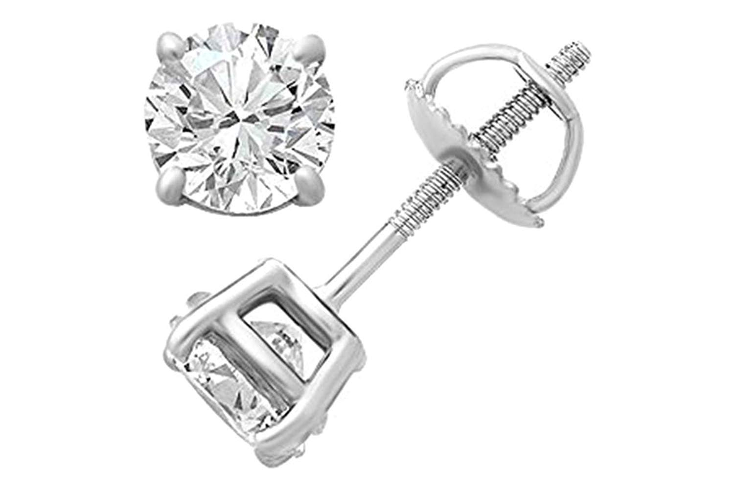IGI Certified White Natural Diamond Stud Earrings In 14K Solid Gold (0.25 Ct - 0.76 Ct, G-H Color, I2-I3 Clarity)