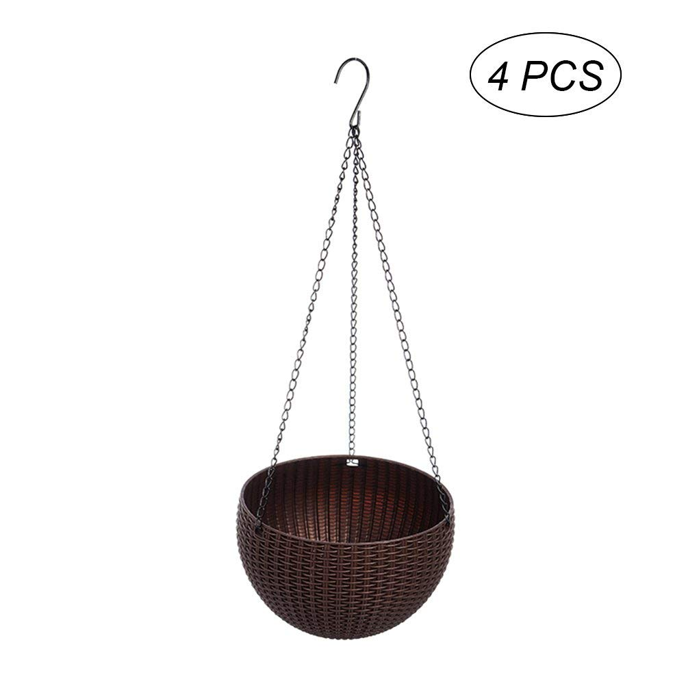 OUNONA Plastic Hanging Planter Basket Durable Metal Chain Plant Holder Decor Hanging Flower Pots Indoor Outdoor Hanging Baskets 4PCS (Coffee)