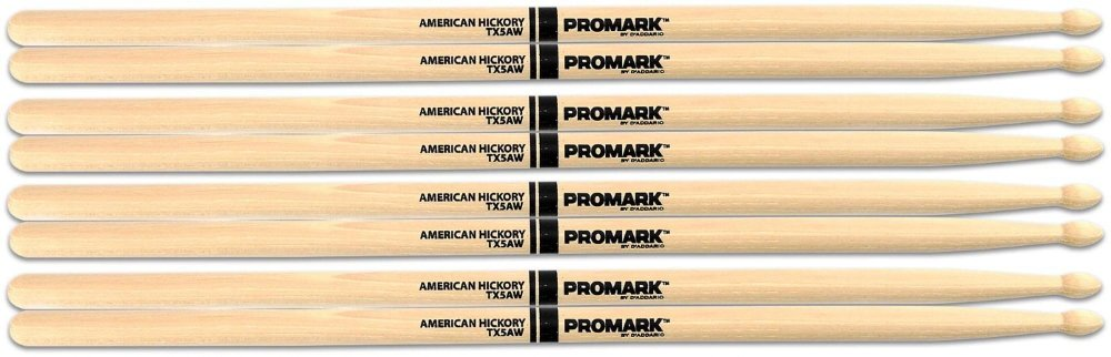 PROMARK Buy 3 Pairs of American Hickory Wood Tip 5A Sticks and Get One Free 5A Wood Tip