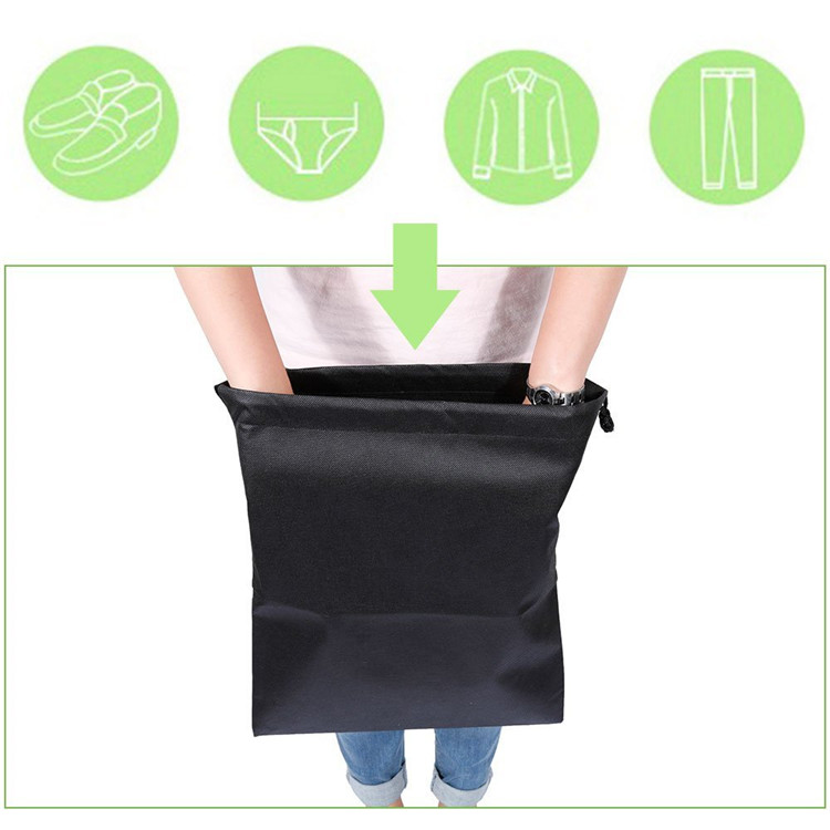 2018 Cheap Portable Non-Woven Breathable Drawstring Dust-proof Organiser Storage Bag Case for Shoes Boots (Black)