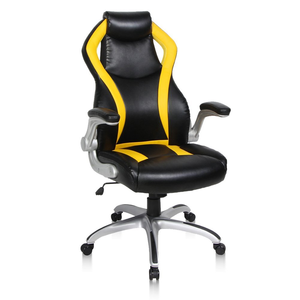 PTO Furniture Gaming Chair Racing Chair Flip-up Armrests Ergonomic Computer Chair Bonded Leather High-Back Office Chair with Lumbar Support Executive Swivel Desk Chair, Yellow & Black