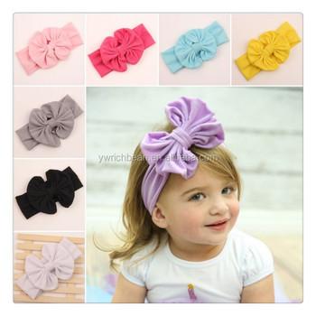 New 2015 Baby Girl Cotton bow Headwrap Floppy Big Bow Turban Headband for  Newborn Hair Baby 1239126d74e