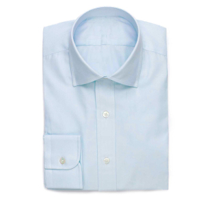 Taiored Made Light Blue Solid Cotton Twill Cut Away Mens Dress Shirt