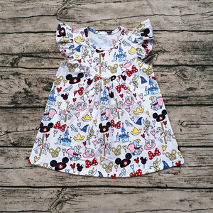 Girls Summer Latest Design Fashionable Casual Flutter Dress Children's Mickey Dress