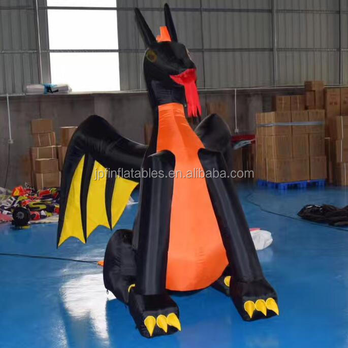 Advertising Giant red and black Inflatable Dragon With Wings For Sale