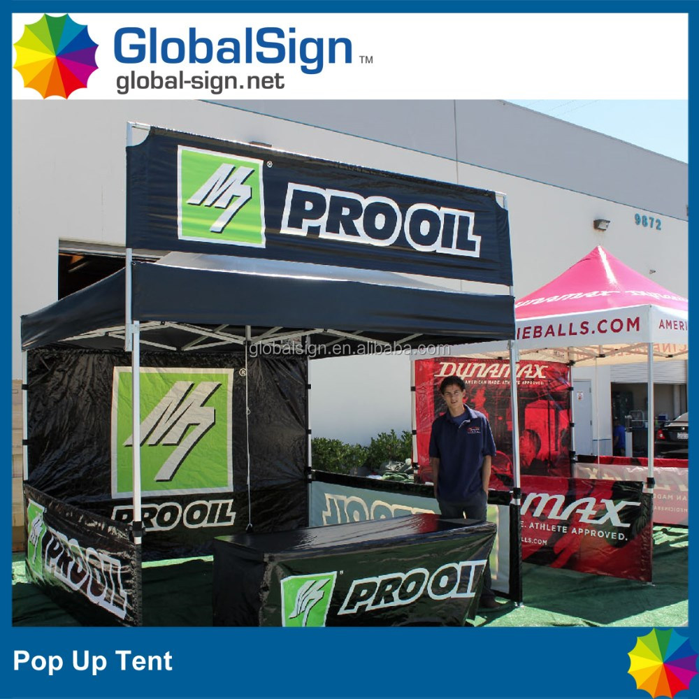 printed display tent with sky banner and table cover