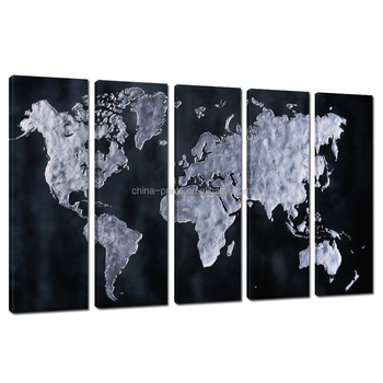 Panel World Map Canvas Printabstract Map Picture Printinghome - World map canvas grey