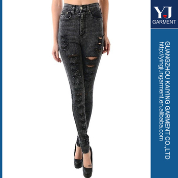 New Black Acid Wash High Waist Distressed Ripped Skinny Denim Pant ...