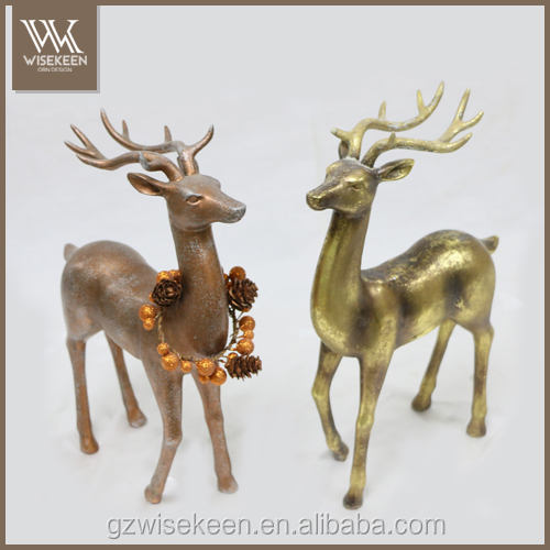 Metalic finished Polyresin Reindeer Decorations Christmas Decorations