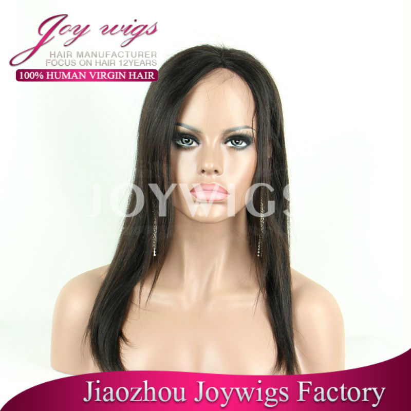 Qigdao 2016 Joywigs New Arrival 10A Grade Brazilian Virgin Human Hair 150 density 1colour Silky Straight Frontal lace Wig