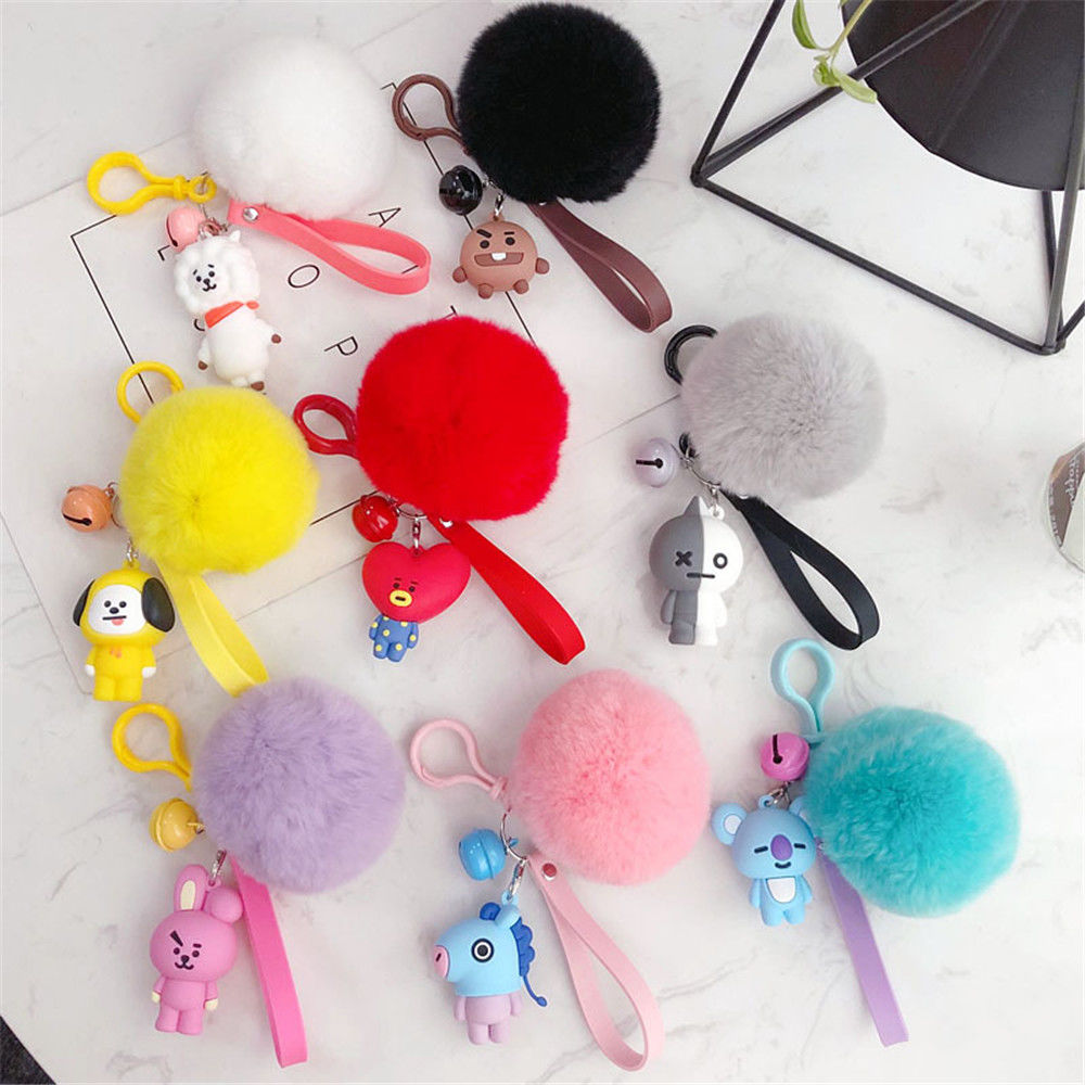 COOKY Fur Bola Silicone TATA BTS KeyChain Chaveiro Saco Pingente Kpop Chic AD1703 Quente