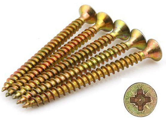 Double csk head pozi drive yellow zinc plated chipboard screw