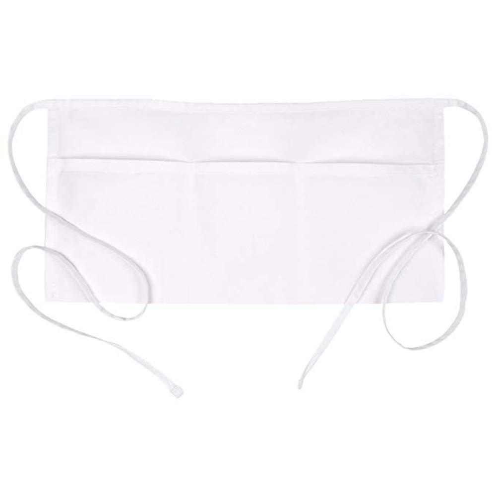 Ufaucet 3 Pockets Waist Apron Set of 1 White 11.8 x 23.8 inches - Restaurant Half Aprons Men, Women, Chef, Baker, Servers, Waitress, Waiter, Bartender, Craftsmen and Money Apron, Check Holder