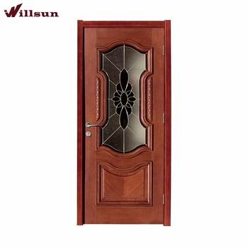 Custom Insert Glass Raised Panel Wooden Single Door Designs For