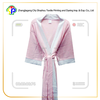 Excellent new style fancy knit waffle in light pink kimono bathrobe
