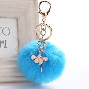 High quality plush rabbit faux fur ball key chain cute angel dancer diamond keychain with ballet girl