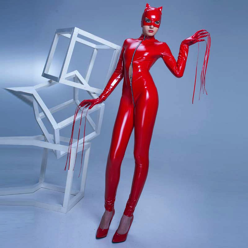 Cat fetish latex pvc suit zentai not