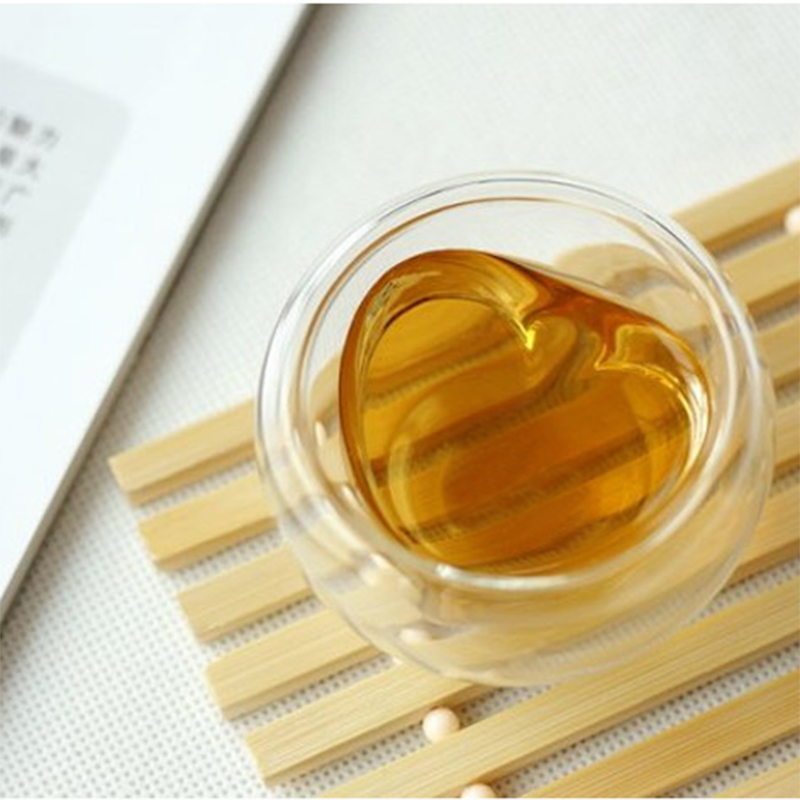 China factory heart shaped creative double wall glass tea cup