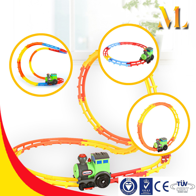New children trains toys plastic railway electric track with light toys for boys