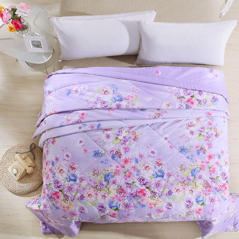 Purple flowers fantasy style 100% cotton summer or autumn air conditioning blanket quilt bedding comforter home tetile.