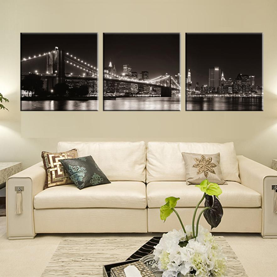 Black And White Paintings For Bedroom Bedroom Sets Black Modern Bedroom Black Bedroom Furniture Sets Pictures: Aliexpress.com : Buy 3 Panels Modern Canvas Painting