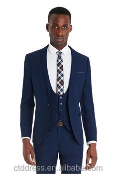 c51aefac5d 2014 Top Quality 100% Wool Blue 3 Piece Designer Suits Mens - Buy ...