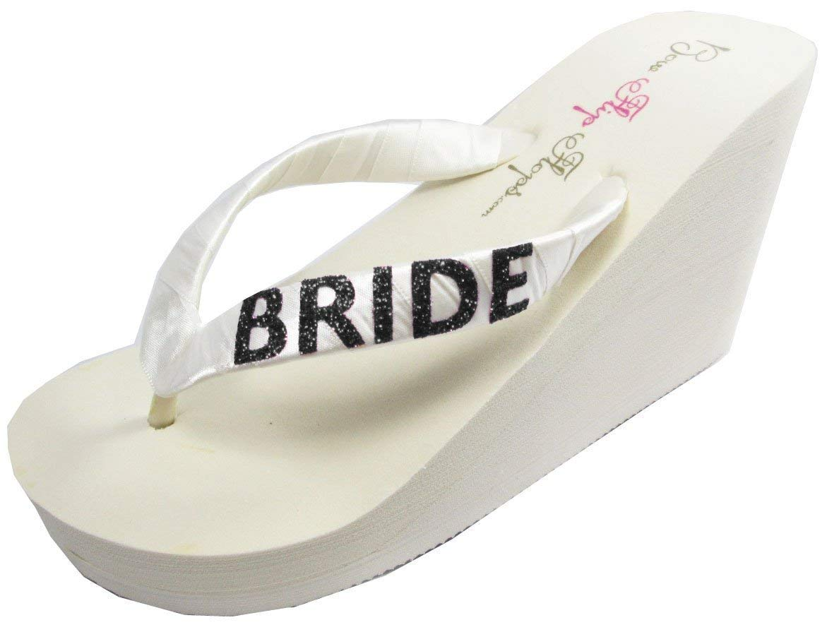 9fb4ecd52842 Get Quotations · Your Wedding Colors for Cute Wedge BRIDE Flip Flops with  Satin Ribbon Straps